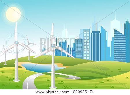 Wind power plant. Wind turbines. Green energy industrial concept. Vector illustration in flat cartoon style of wind power station with urban city background. Renewable energy sources