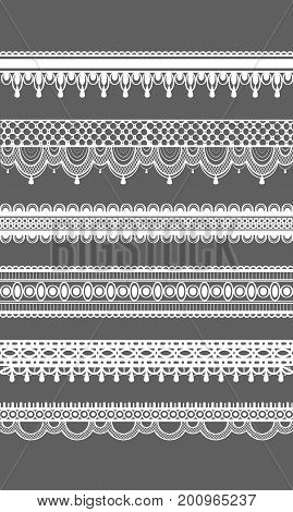 Lace borders. Vector seamless lace patterns. Vector illustration. Set of seamless lattice borders. Six white lace ribbons isolated on grey background