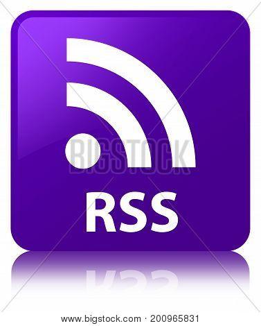 Rss Purple Square Button