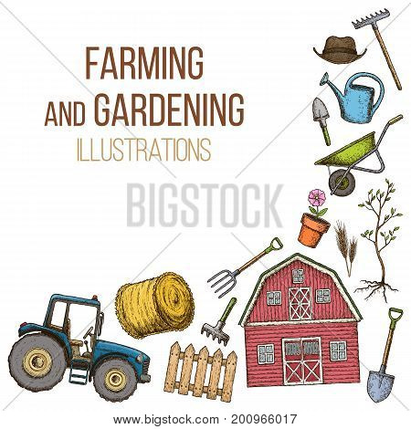 Set of farming equipment icons. Farming tools and agricultural machines decoration sketch illustration. Vector