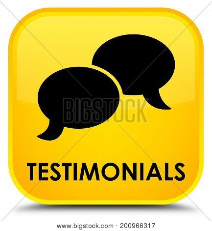 Testimonials (chat Icon) Special Yellow Square Button