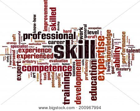 Skill word cloud concept. Vector illustration on white