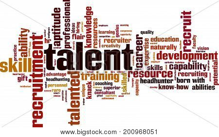 Talent word cloud concept. Vector illustration on white