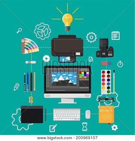 Designer workplace. Illustrator desktop with tools. Desktop pc, photo camera, mouse, glasses, notes, pen, printer. Sketch on screen. Graphic tablet Vector illustration in flat style