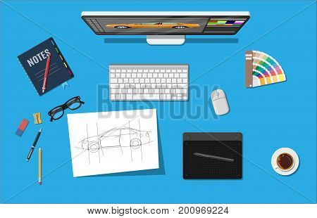 Designer workplace. Illustrator desktop with tools. Desktop pc, keyboard, mouse, glasses, notes, pen, coffee. Sketch on paper blank and graphic tablet. Vector illustration in flat style