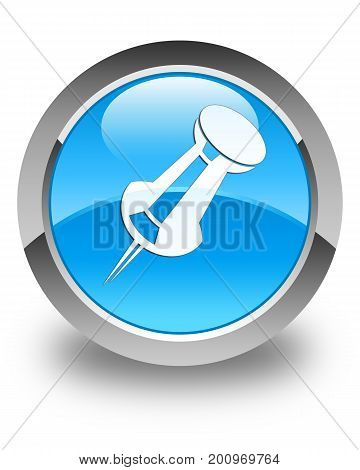 Push Pin Icon Glossy Cyan Blue Round Button
