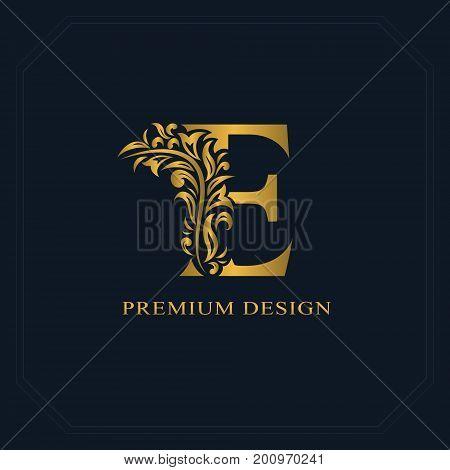 Gold Elegant Letter E. Graceful Style. Calligraphic Beautiful Logo. Vintage Drawn Emblem For Book De