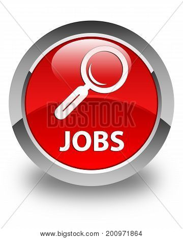 Jobs Glossy Red Round Button