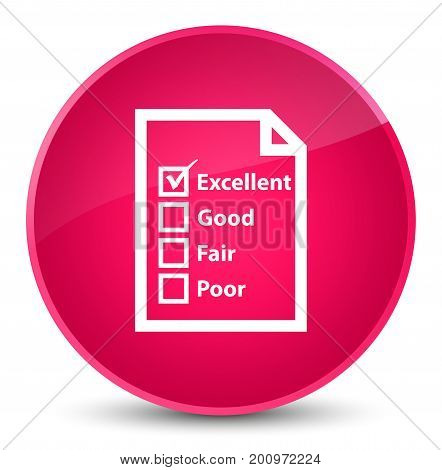 Questionnaire Icon Elegant Pink Round Button