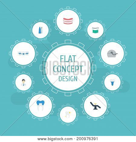 Flat Icons Artificial Teeth, Orthodontist, Cleaned And Other Vector Elements