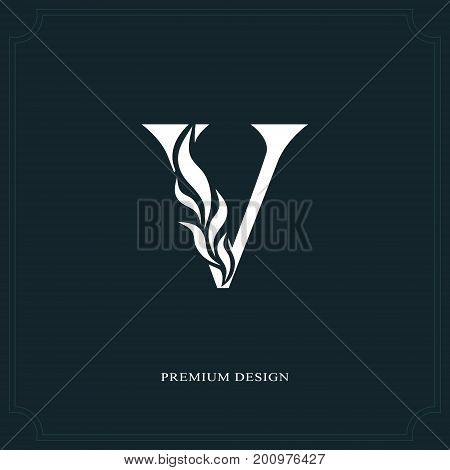Elegant Letter V. Graceful Royal Style. Calligraphic Beautiful Logo. Vintage Drawn Emblem For Book D