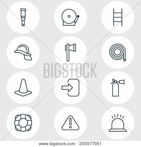 Editable Pack Of Alarm, Hosepipe, Stairs And Other Elements.  Vector Illustration Of 12 Necessity Icons.