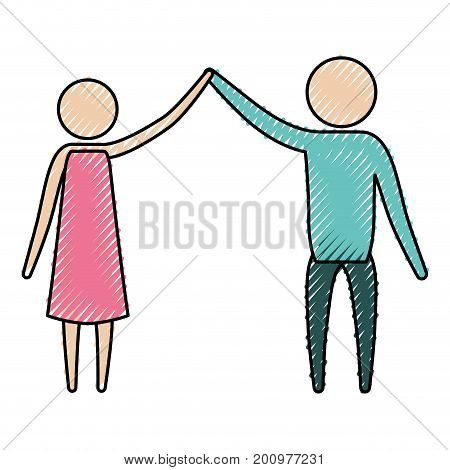 color crayon silhouette of pictogram couple clashing hands in clothes vector illustration