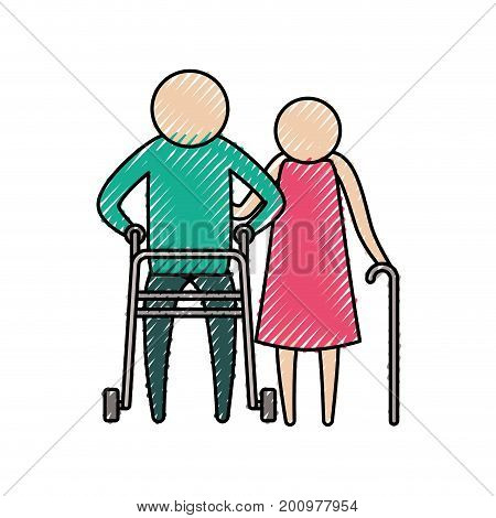 color crayon silhouette of pictogram elderly couple with man in assistance walker and woman with stick vector illustration