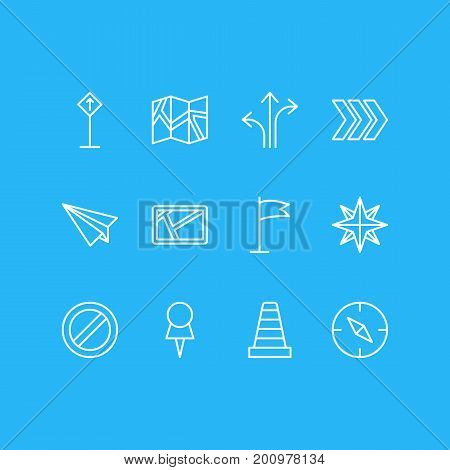 Editable Pack Of Signpost, Caution, Marker And Other Elements.  Vector Illustration Of 12 Direction Icons.