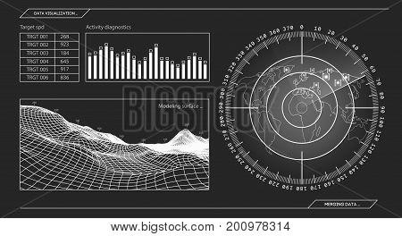 Military green radar. Screen with target. Futuristic HUD interface. Stock vector illustration.
