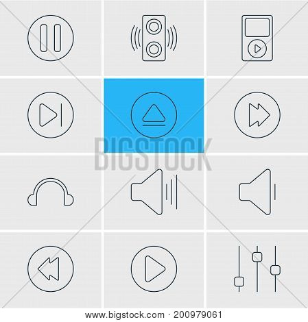 Editable Pack Of Subsequent, Decrease Sound, Mp3 And Other Elements.  Vector Illustration Of 12 Melody Icons.