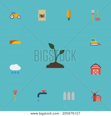 Flat Icons Farm Vehicle, Grain, Cloud And Other Vector Elements