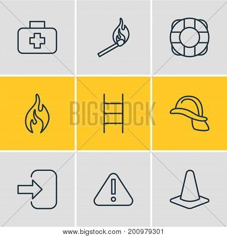 Editable Pack Of Medical Case, Burn, Hardhat And Other Elements.  Vector Illustration Of 9 Necessity Icons.