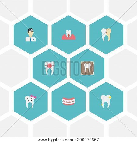 Flat Icons Treatment, Brace, Orthodontist And Other Vector Elements