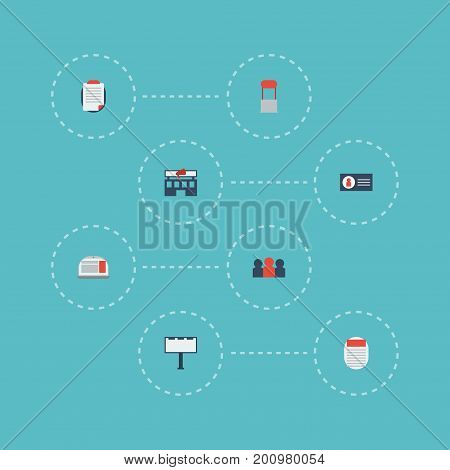 Flat Icons Journal, Advertising, Id And Other Vector Elements