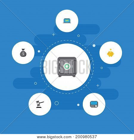 Flat Icons Atm, Finance Sack, Computer And Other Vector Elements