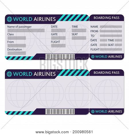 Airline Plane Ticket Boarding Vector  Photo  Bigstock