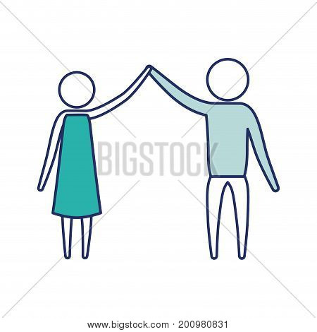 color blue silhouette of sections pictogram couple clashing hands in clothes vector illustration