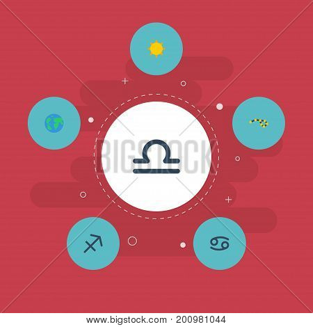 Flat Icons Earth Planet, Solar, Horoscope And Other Vector Elements