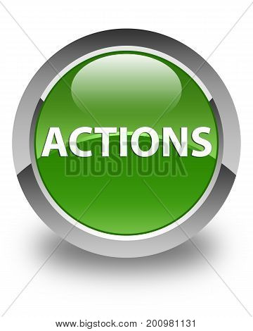 Actions Glossy Soft Green Round Button