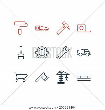 Editable Pack Of Lifting, Handcart, Paintbrush Elements.  Vector Illustration Of 12 Industry Icons.