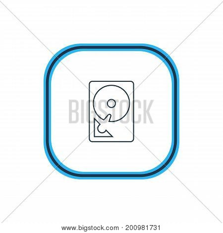 Beautiful Computer Element Also Can Be Used As Hard Drive Disk Element.  Vector Illustration Of Hdd Outline.