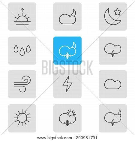 Editable Pack Of Lightning, Sunlight, Drip And Other Elements.  Vector Illustration Of 12 Sky Icons.