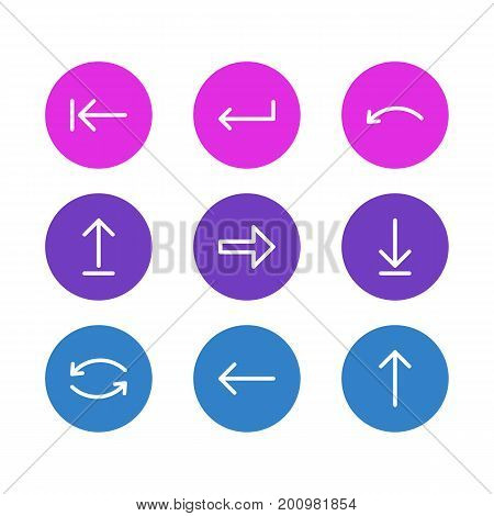 Editable Pack Of Upwards, Left, Undo And Other Elements.  Vector Illustration Of 9 Direction Icons.