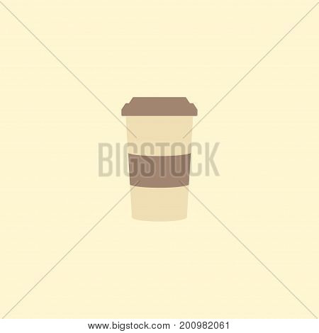 Flat Icon Cappuccino To Go Element. Vector Illustration Of Flat Icon Plastic Cup Isolated On Clean Background