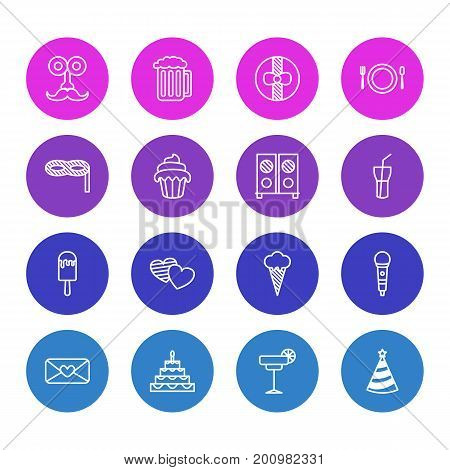 Editable Pack Of Ice Cream, Man Style, Martini And Other Elements.  Vector Illustration Of 16 Banquet Icons.