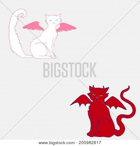 Cat angelwhite color pink wings and a halo above the head and the cat devil with horns fangsarrogant grin scarlet skin color and wings isolated comic style. Vector hand drawn illustration.