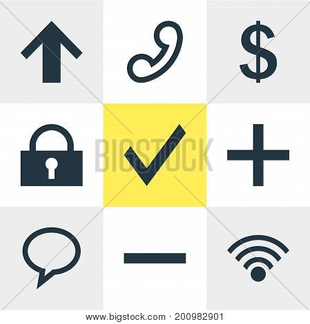 Editable Pack Of Top, Confirm, Padlock And Other Elements.  Vector Illustration Of 9 Member Icons.