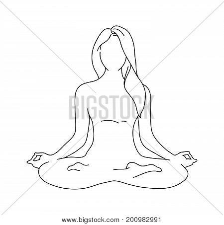 Woman yoga pose. Lotus position silhouette. Vector illustration. Meditation monochrome icon