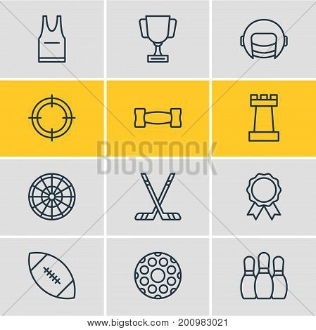 Editable Pack Of T-Shirt, Dumbbell, Goblet And Other Elements.  Vector Illustration Of 12 Fitness Icons.