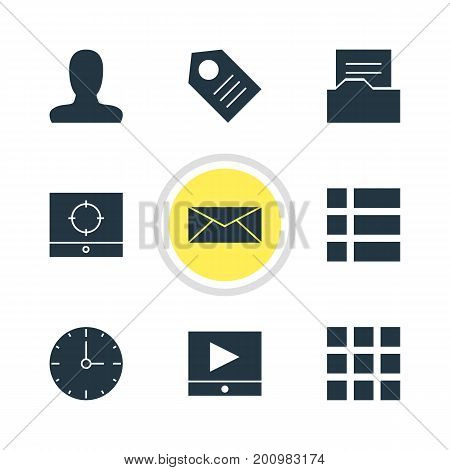 Editable Pack Of List, Target Scope, Play Button And Other Elements.  Vector Illustration Of 9 Internet Icons.
