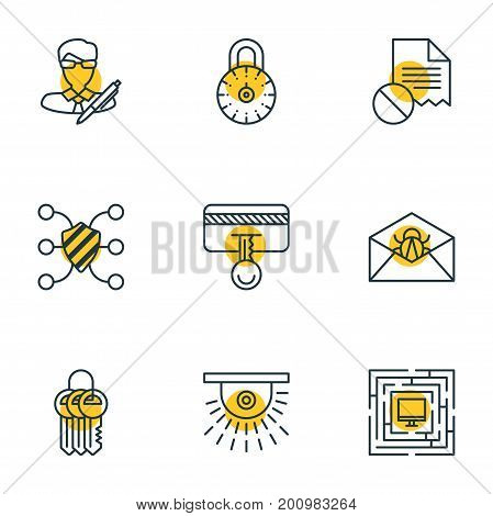 Editable Pack Of Safety Key, Copyright, System Security And Other Elements.  Vector Illustration Of 9 Data Icons.