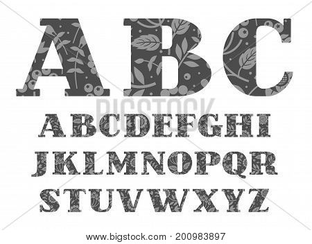 English alphabet, berries and herbs, dark gray, vector.  Capital letters of the English alphabet with serif. Gray berries and twigs with leaves on dark gray background.