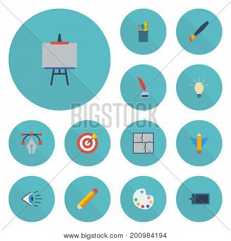 Flat Icons Pen, Eye, Gadget And Other Vector Elements