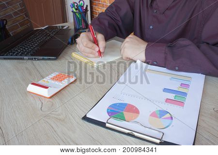Businessman using a calculator to calculate the numbers. Businessman calculate finance and thinking about problem in home office