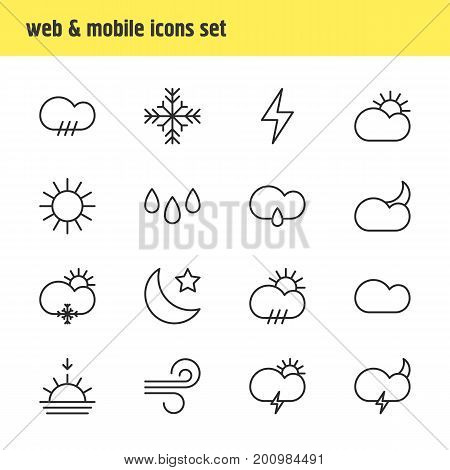 Editable Pack Of Sunrise, Sunlight, Lightning And Other Elements.  Vector Illustration Of 16 Atmosphere Icons.