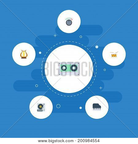 Flat Icons Tape, Octave Keyboard, Tambourine And Other Vector Elements