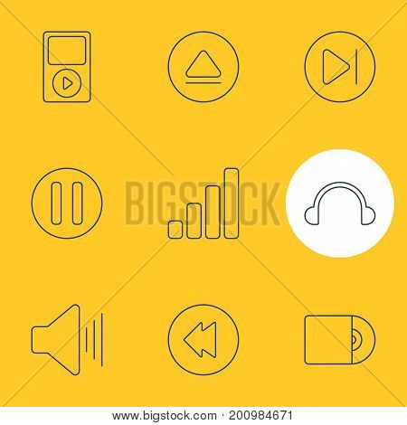 Editable Pack Of Lag, Mp3, Volume Up And Other Elements.  Vector Illustration Of 9 Melody Icons.