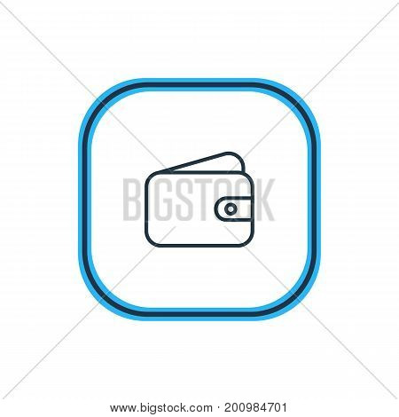 Beautiful Commerce Element Also Can Be Used As Pocketbook Element.  Vector Illustration Of Wallet Outline.