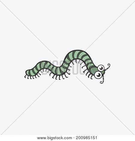 Funny vector icon. Centipede caterpillar worm. Flat Illustration for your design Collection for your design